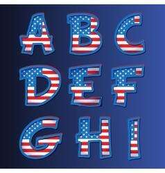 USA alphabet on a blue background vector image