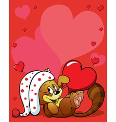 valentines background with cute cat vector image vector image