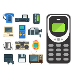 vintage technologies retro audio multimedia vector image