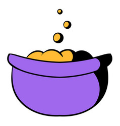 Witch cauldron with potion icon cartoon vector