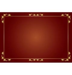 golden frame on brown background vector image