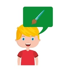 Boy character student with school supplies vector