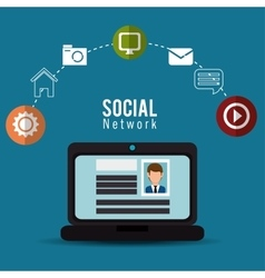 Computer social network profile person online vector
