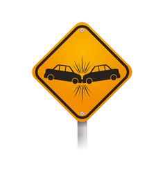 warning sign crash danger vector image