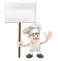 waving chef holding sign vector image