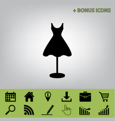 Mannequin with dress sign  black icon at vector