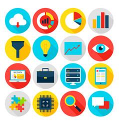 Big data flat icons vector