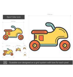 Sport bike line icon vector
