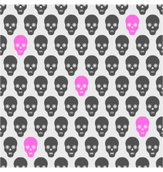 Seamless pattern with gray and pink skulls vector