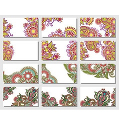 Colorful floral ornamental business card element vector