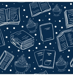 Blue seamless pattern with books and cups vector