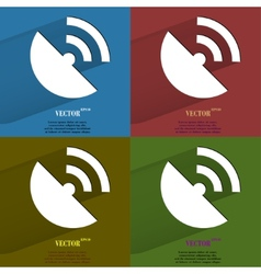 Color set gpsflat modern web button with long vector
