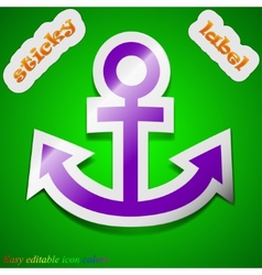 Anchor icon sign symbol chic colored sticky label vector
