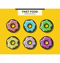 Set of donuts with powder in flat style vector
