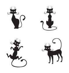 Silhouette of black graceful cats vector