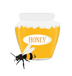 Honey jar and bee vector image