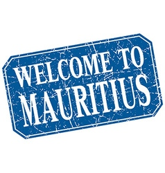 Welcome to mauritius blue square grunge stamp vector