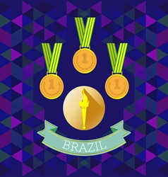 Abstract Brazil design with first place gold medal vector image vector image