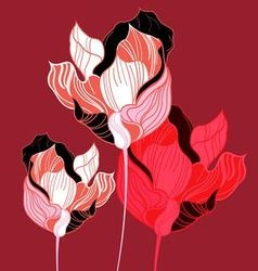 Abstraction vivid graphics tulips on maroon vector