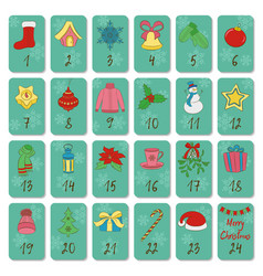 Advent calendar retro christmas winter and new vector