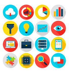 Big data flat icons vector