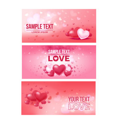 bright love festive horizontal banners vector image