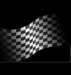 checkered flag wave in black vector image vector image