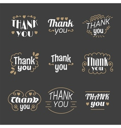 Collection of 9 thank you labels emblems stickers vector