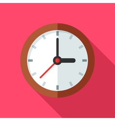 Colorful clock icon in modern flat style with long vector image vector image