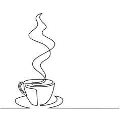 Continuous line drawing of cup of coffee vector