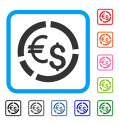 Currency diagram framed icon vector