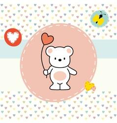 cute bear greeting card vector image vector image