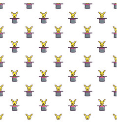 Cute bunny rabbit in magic hat pattern seamless vector