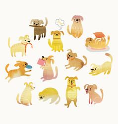 Cute watercolor yellow dogs vector