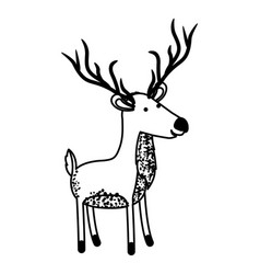 Deer cartoon with long horns in black sections vector