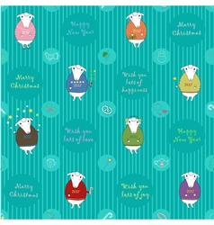Festive seamless pattern with cartoon sheeps vector