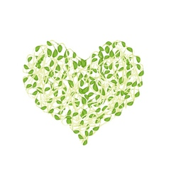 Fresh sprout beans in a heart shape vector