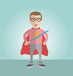 Geek superhero boy with the sword and a cape vector