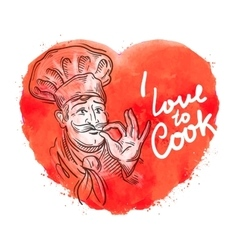 Hand drawn cook chef sketch and cooking vector