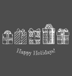 hand drawn of gift boxes vector image