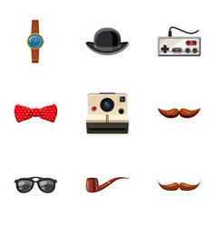 Hipster stickers icons set cartoon style vector