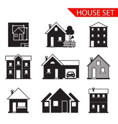 house silhouette icons set isolated vector image vector image