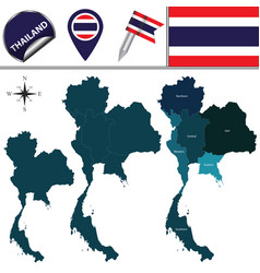 Map of thailand with regions vector