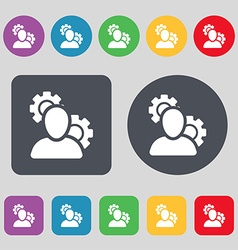 Profile setting icon sign a set of 12 colored vector