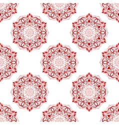 Red Seamless Mandala Pattern over white vector image vector image
