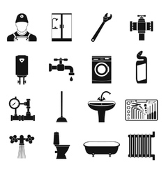 Sanitary engineering simple icons vector image