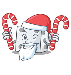 Santa with candy dice character cartoon style vector