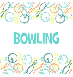 Seamless bowling pattern with outline of skittles vector