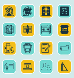 set of 16 school icons includes diploma library vector image