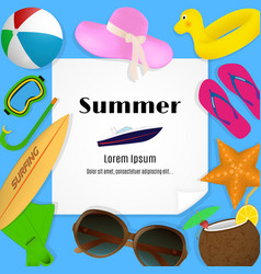 summer travel template with beach accessories a vector image vector image